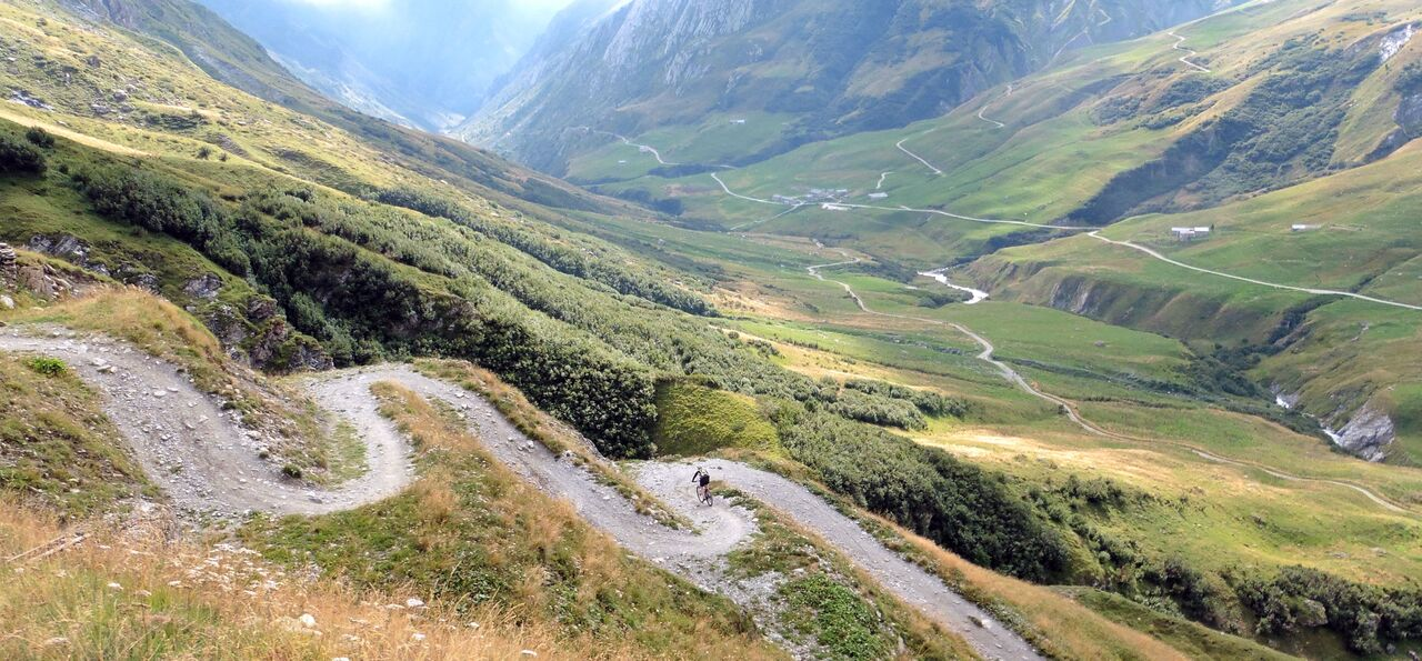 ALPS- THE FUN DOWNHILL TO THE REFUGE DES MOTTETS